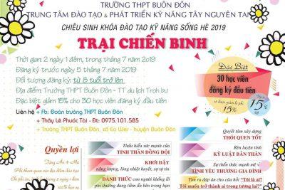 """Thông báo chiêu sinh khóa học rèn luyện kỹ năng sống """"TRẠI CHIẾN BINH"""" hè 2019"""